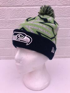 b47237753b1ec Seattle Seahawks New Era NFL Knit Cap Hat Beanie Stocking Cap Pom ...