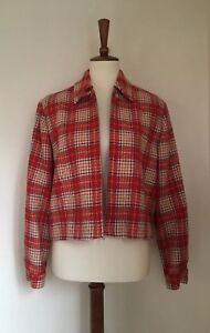Details about VTG FRENCH CONNECTION Women's Red 100% Wool Tartan Plaid  Jacket Blazer Sz M