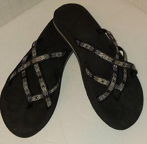Sz. 11, Teva Women's Olowahu Flip Flops Sandals Grey/Blk Mush Insole 6840