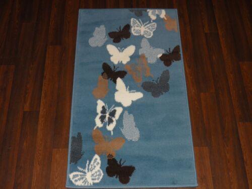 Modern Aprox 4x2 60cmx110cm Novelty Butterflys New Rugs Woven Backed Cream//Blue