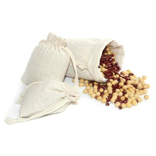 50x Bag Natural Linen Pouch Drawstring Burlap Jute Sack Drawstring Gift Bags