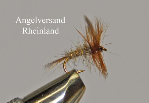 3 goldgerippte Hasenohr Dry Hakengröße #14-18 wählbar by Angelversand Rheinland