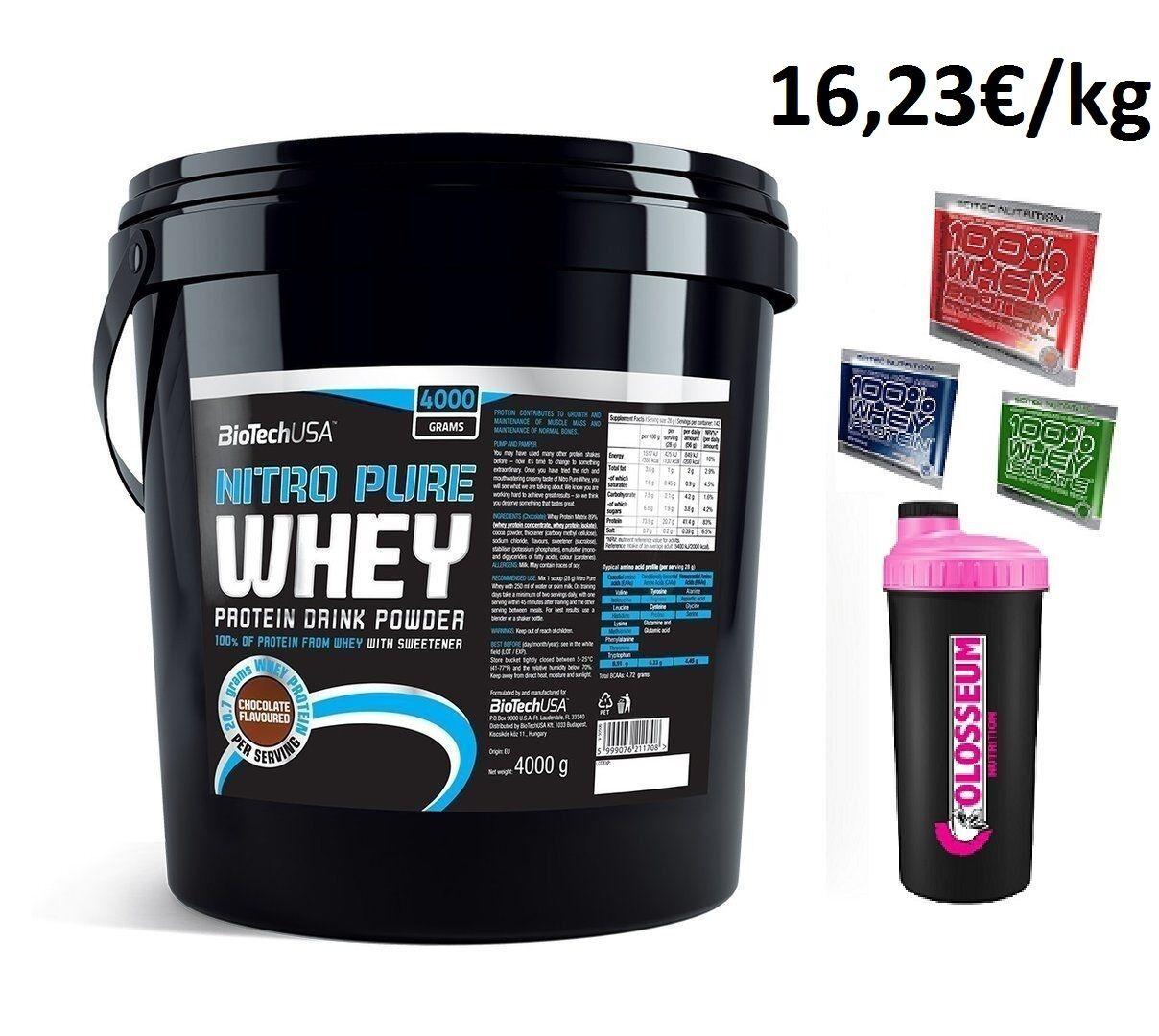 Biotech USA Nitro Pure Whey Whey Whey - 4000g + GRATIS Bonus 67c914