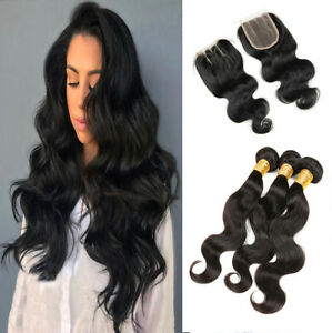 Brazilian-Body-Wave-Hair-3Bundles-With-4-4-Lace-Closure-Human-Hair-Extensions-US