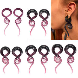 Pair-Glass-Purple-Snail-Sprial-Ear-Taper-Stretcher-Plug-Expander-Gauges-5mm-14mm
