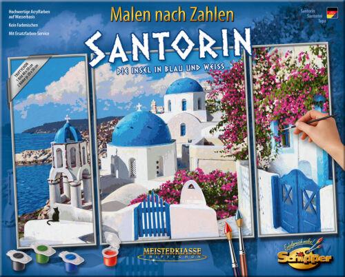 MALEN NACH ZAHLEN ~ Santorin ~ 609260783 Schipper MnZ Triptychon 50x80 cm