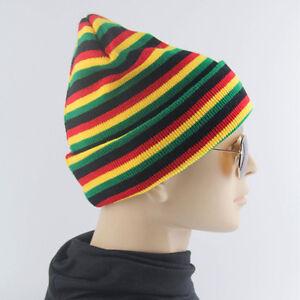 Striped-Plain-Beanie-Knit-Ski-Cap-Skull-Hat-Warm-Solid-Color-Winter-Cuff
