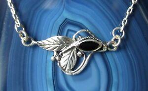 Necklace-925-Sterling-Silver-Onyx-Black-Leaf-Tendril-Art-Nouveau-Style-Ornaments