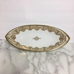 Hand-Painted-Nippon-RC-13-034-Oblong-Dish-Gold-Floral-Border-Royal-Crockery