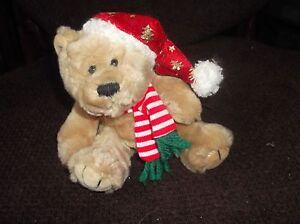 Adorable Fausse Fourrure En Peluche Teddy Bear En Noël Chapeau & Écharpe Keel Toys Simply Soft-afficher Le Titre D'origine