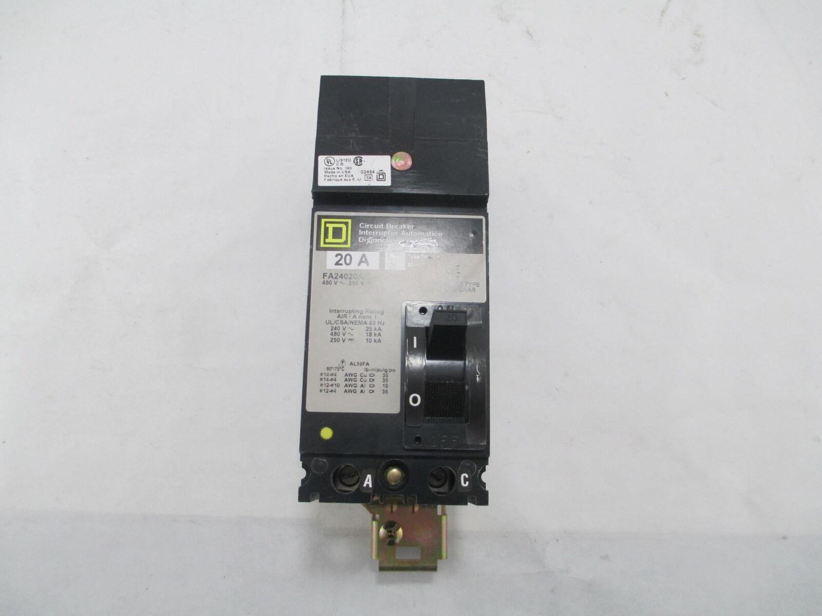 Square D FA24020AC 2-Pole 480 Volt 20 Amp I-Line Circuit Breaker