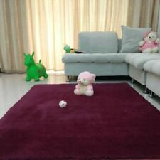 Super Soft Plush Fabric Solid Carpet Floor Rug Living Room Carpet Mats Claret DH