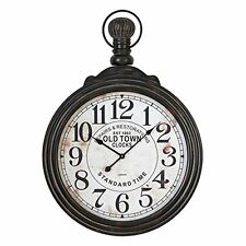 """Aspire Home Accents Large Pocket Watch Style Distressed Black Wall Clock 28"""""""