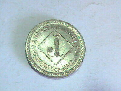 """Property Of Machine Awarded Fpr Skill Durable Modeling Not Brass Game Token """"j"""" Silver Toned"""