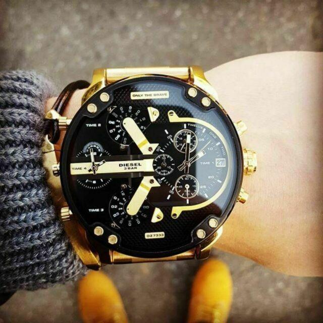 DZ7333 DIESEL Gold Black Dial Original Mr. Daddy 2.0 Quartz Men's Watch ✅