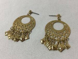 PAIR-2-DROP-DANGLE-CHANDELIER-EARRINGS-GOLD-CIRCLES-KITE-SHAPED-DANGLY-BEADS