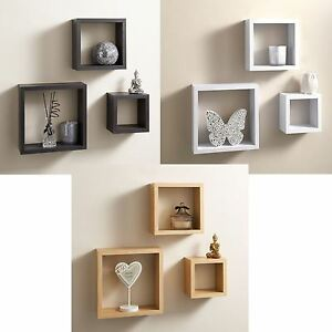 set of 3 floating cubes wall mounted storage book cd. Black Bedroom Furniture Sets. Home Design Ideas