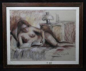 Jean-claude-Quinette-1956-Nackte-Frau-Pastell-Normandie-Villedieu-Honfleur-Akt