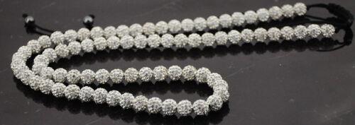 32 Centímetros De Largo Shamballa Collar 80 Beads 10mm Blanco Crystal Beads