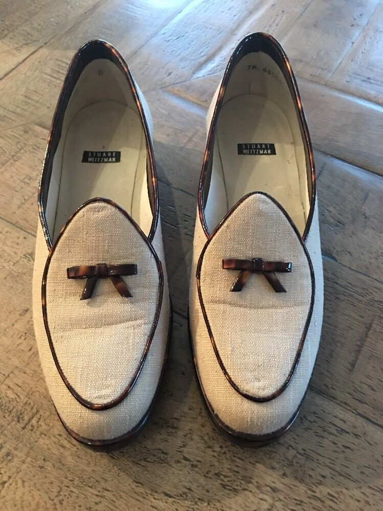 Stuart Weitzman Tan Loafers Tortoise Trim Slip On shoes Womens 7 Wide EUC