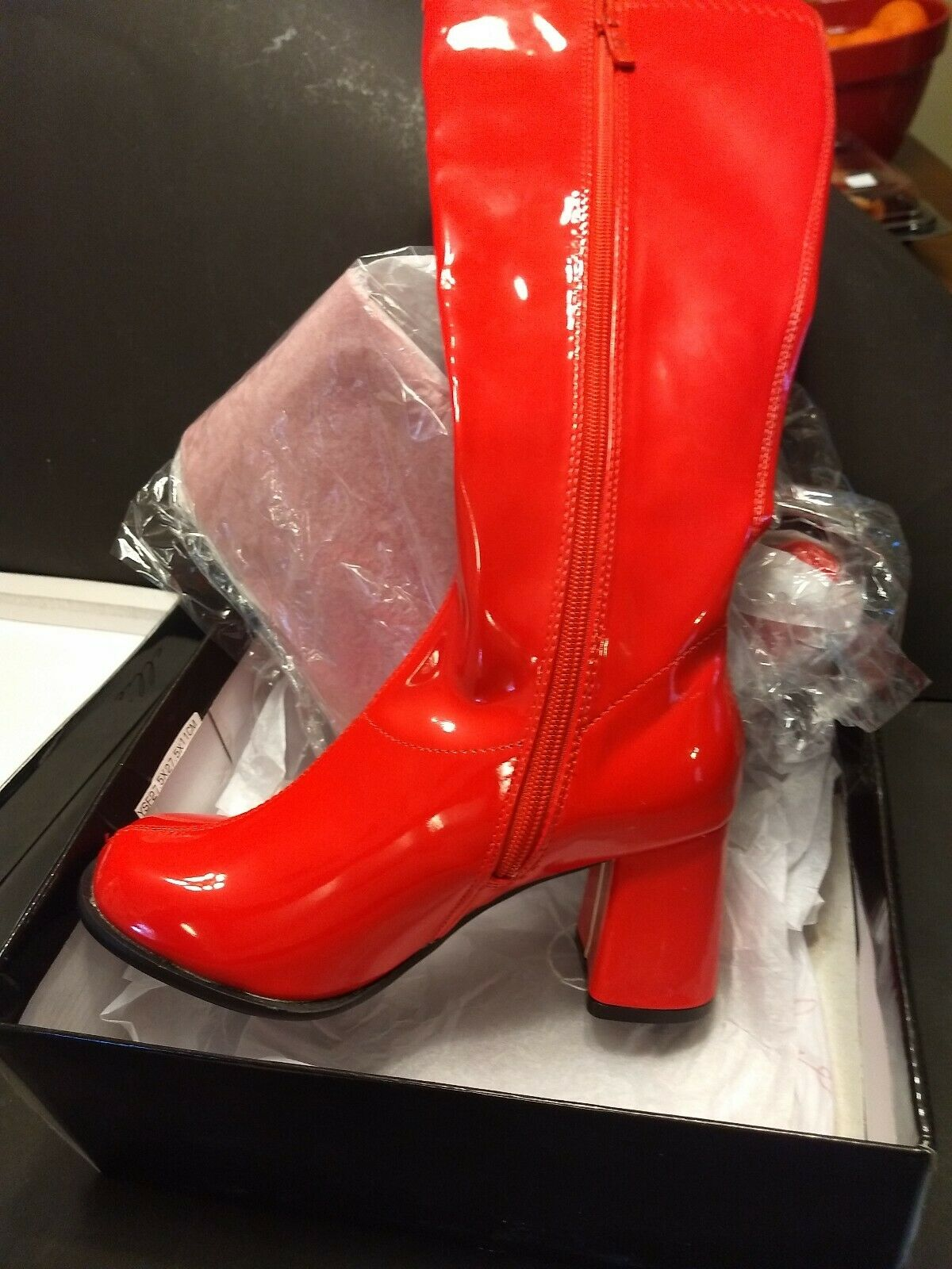 Ellie women's RED 16  1960's style GoGo zip up boots & original box size 6