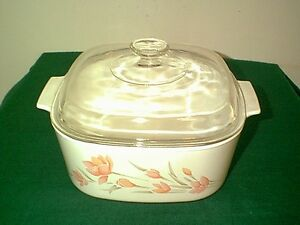 NICE-CORNING-WARE-PEACH-FLORAL-5-QT-DUTCH-OVEN-WITH-GLASS-DOMED-LID-A-5-B-PYREX