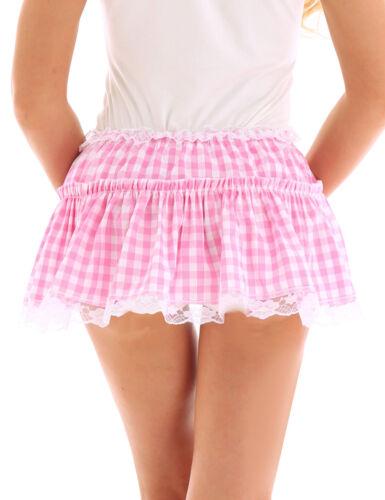 Sissy Men Women Pleated Mini Short Skirt Cheerleader Gingham Fancy Dress Costume