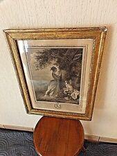 Ancienne lithographie-N.De Launay-Le Chiffre d'Amour-cadre en bois doré-XVIII è