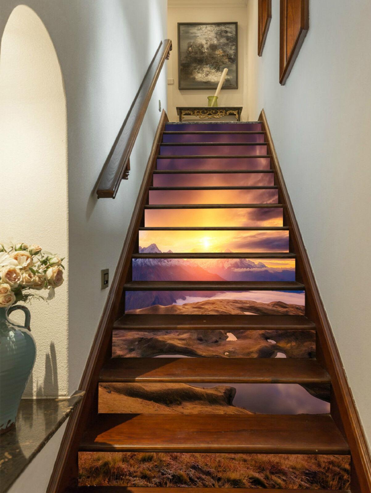 3D Berg Natur 473 Stair Risers Dekoration Fototapete Vinyl Aufkleber Tapete DE