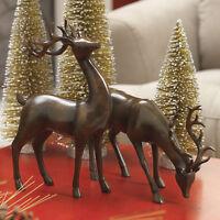 Raz Imports 12 Inch Mahogany Deer Reindeer Set/2 Christmas Beautiful