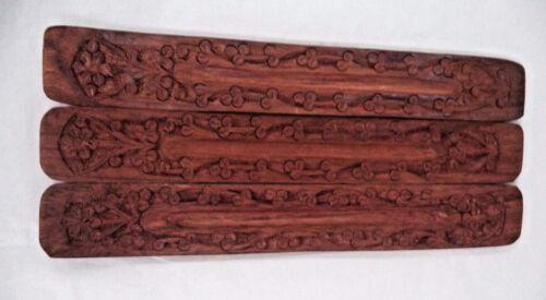 Wooden 3 Pack, Gift Lot of 3 Hand Made Carved Wood Incense Burner Holder