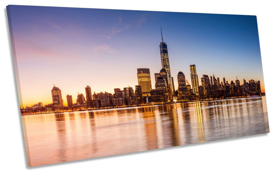 New York City Sunrise PANORAMIC CANVAS WALL ART Box Frame