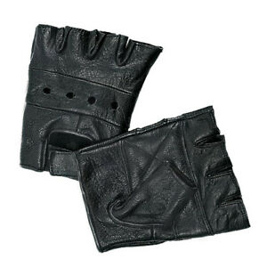 Leather Gloves Fingerless Interstate Motorcycle Riding Bike Driving Gloves