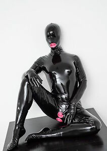 Woman 100% Natural Latex Catsuit Black Full Cover 3