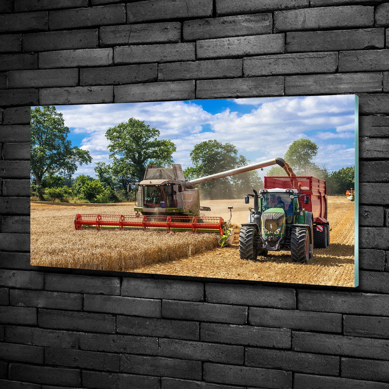 Vetro-Immagine Parete immagini Stampa su vetro 100x50 decorazione veicoli Mietitrebbia Trattore