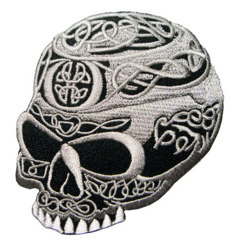 Skull Tribal Tattoo Celtic Knot Biker Embroidered Iron on Patch Free Postage