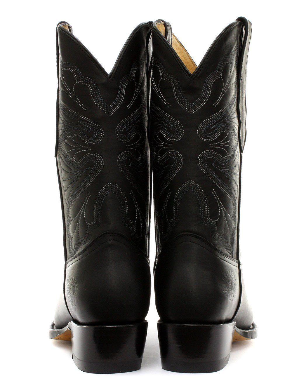Señoras Bota De Cuero Negro Vaquero Occidental Molinillos puntiagudo Dallas Sin Cordones Botas puntiagudo Molinillos f727bb