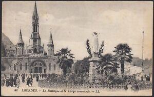 AX3722-France-Lourdes-1925-La-Basilique-et-la-Vierge-couronnee-Cartolina
