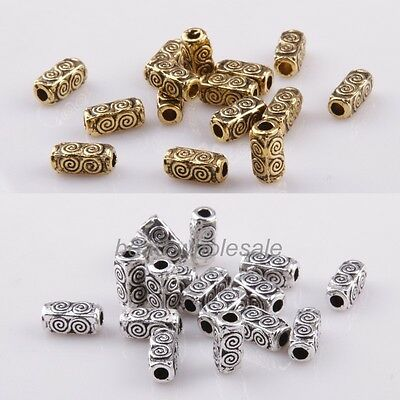 50Pcs Tibetan Silver Tube Flower Pattern Spacer Beads For Jewelry Making