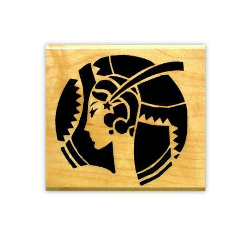 Lady Art Deco Jazzy Woman Rubber Stamp Mounted small Circle Flapper #2