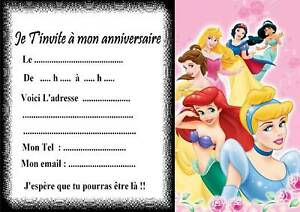 5 Cartes Invitations Anniversaire Princesse Disney 01 Ebay
