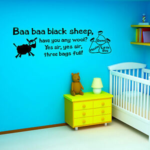 Image Is Loading Baa Black Sheep Nursery Rhyme Childrens Room