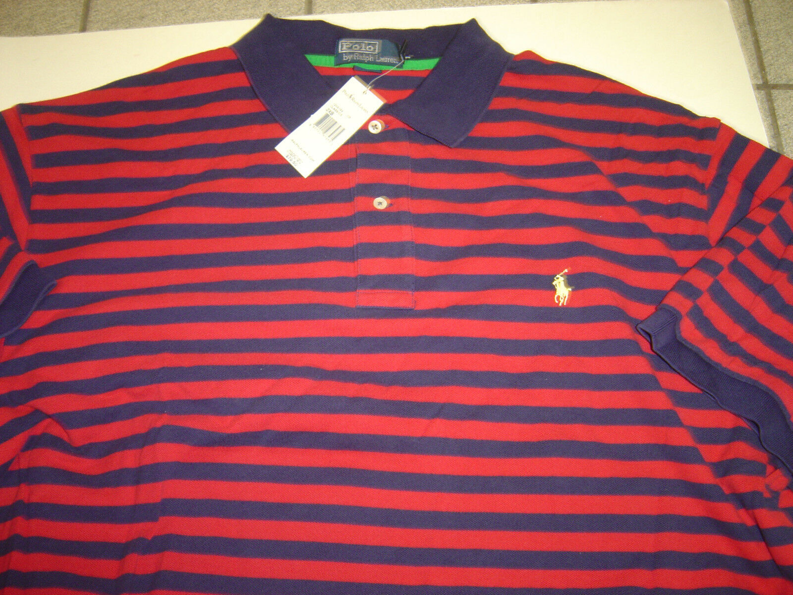 BIG MENS RALPH LAUREN NAVY-RED W YELLOW POLO S S POLO SHIRT SIZE 2X