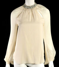 HAUTE HIPPIE Cream Silk Chiffon Crystal Jeweled Collar Blouse S