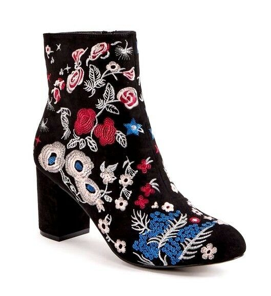 JustFab Saige Femme UK 6.5 Noir Floral Textile à talon BOTTIER ZIP Cheville Bottes