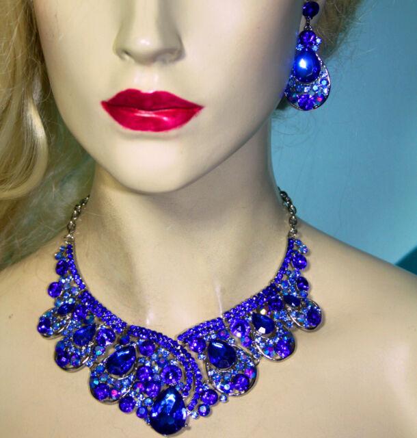 Rhinestone Necklace Earring Set Bridal Wedding Jewerly Prom Pageant Blue