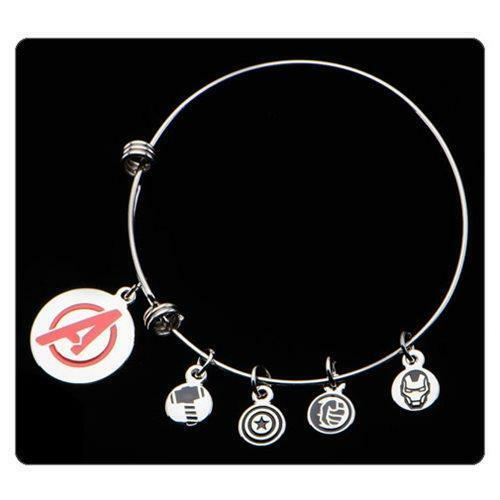 Marvel AVENGERS Licensed A&A Style BRACELET w/ 5 CHARMS Cap Tony Thor Hulk Logo