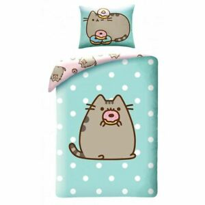 Pusheen-Rondelle-Duvet-Individuel-Housse-Set-Coton-Europeen-Enfants-2-IN-1