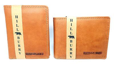 Geldbörse Leder Hill Burry Herren Kreditkarten Portemonnaie Brieftasche Braun