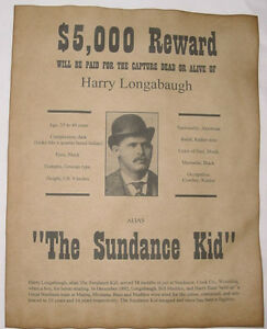 Sundance Kid Wanted Poster, Western, Outlaw, Old West | eBay